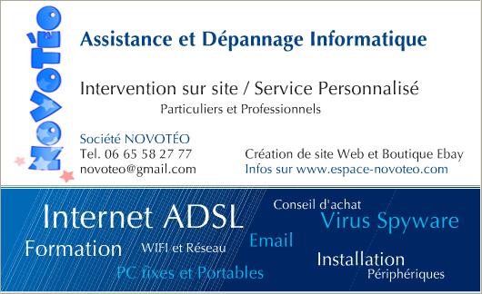 Carte De Visite Assistance Informatique Morelli NOVOTEO Depannage PC Et MAC